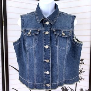 Baccini Cropped Denim Vest Sz L Jean Medium Wash
